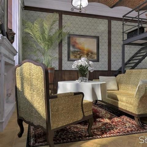 XIX wieczne wnętrze – salon widok na wypoczynek