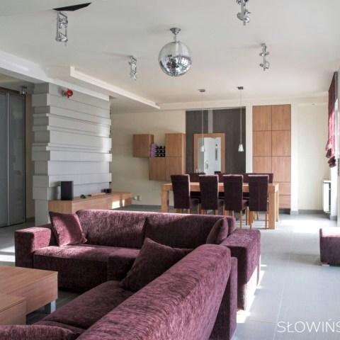 aranżacja domu – wacława – salon widok na jadalnię