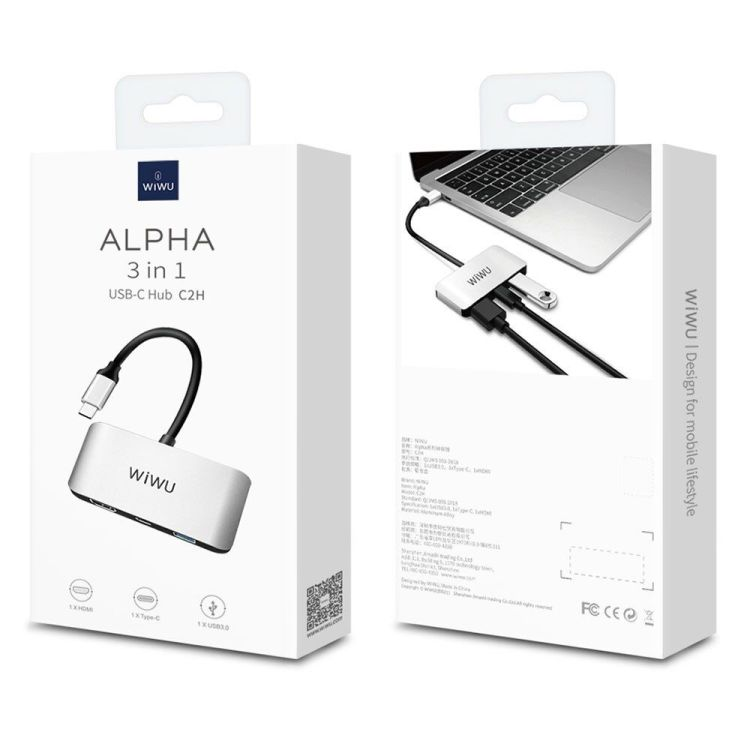 WiWU Alpha C2H 3 in 1 USB C to HDMI USB Hub Adapter 6