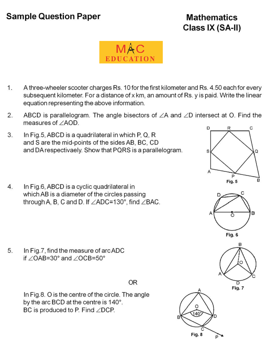 Sample Question Papers For Class 9 Cbse Sa2 Maths