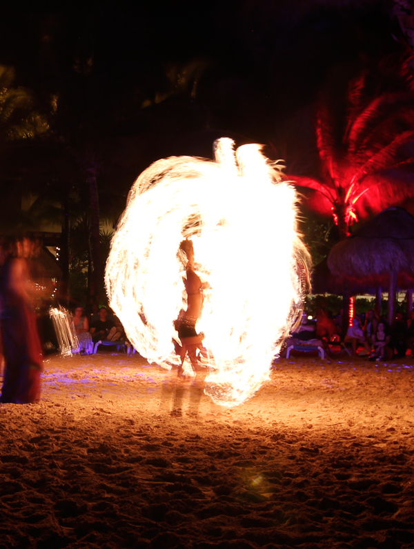 Cancun, Mexico, Fire Dancer, Beach, Ocean, Dance, long exposure