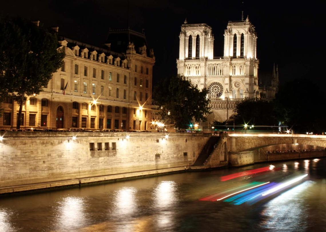 Notre-Dame de Paris, Seine river, Paris, France, River Cruise, Long Exposure, Midnight in Paris