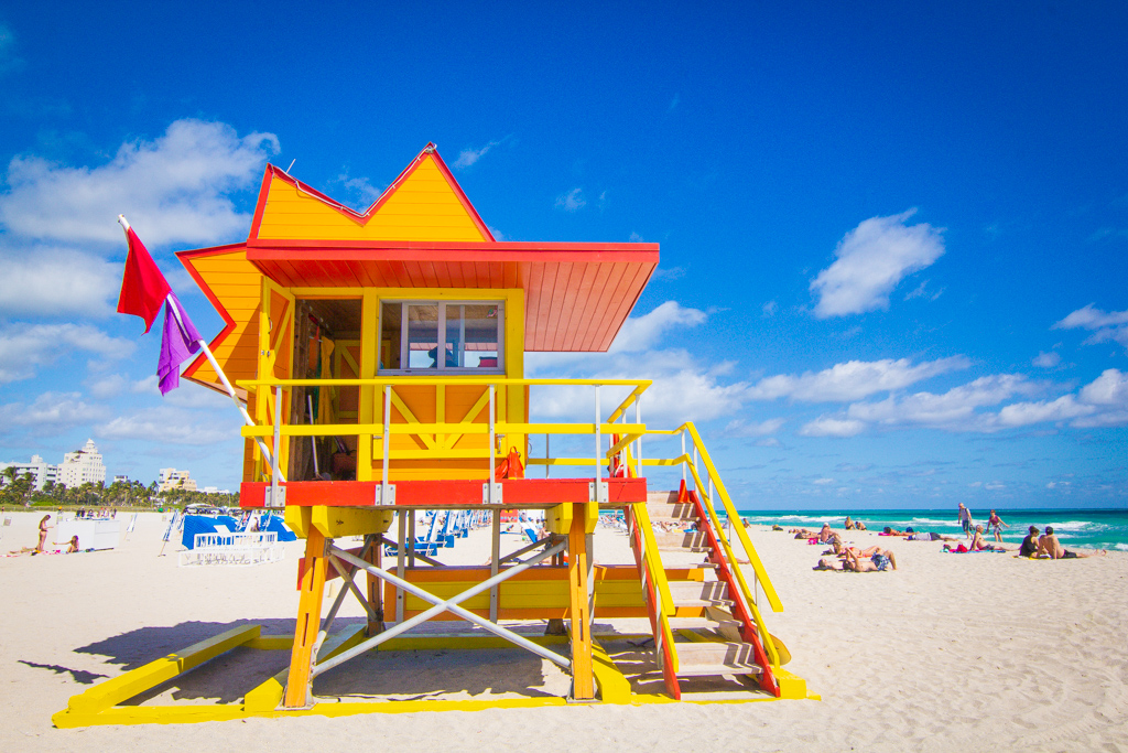 Yellow and orange lifeguard tower in South Beach