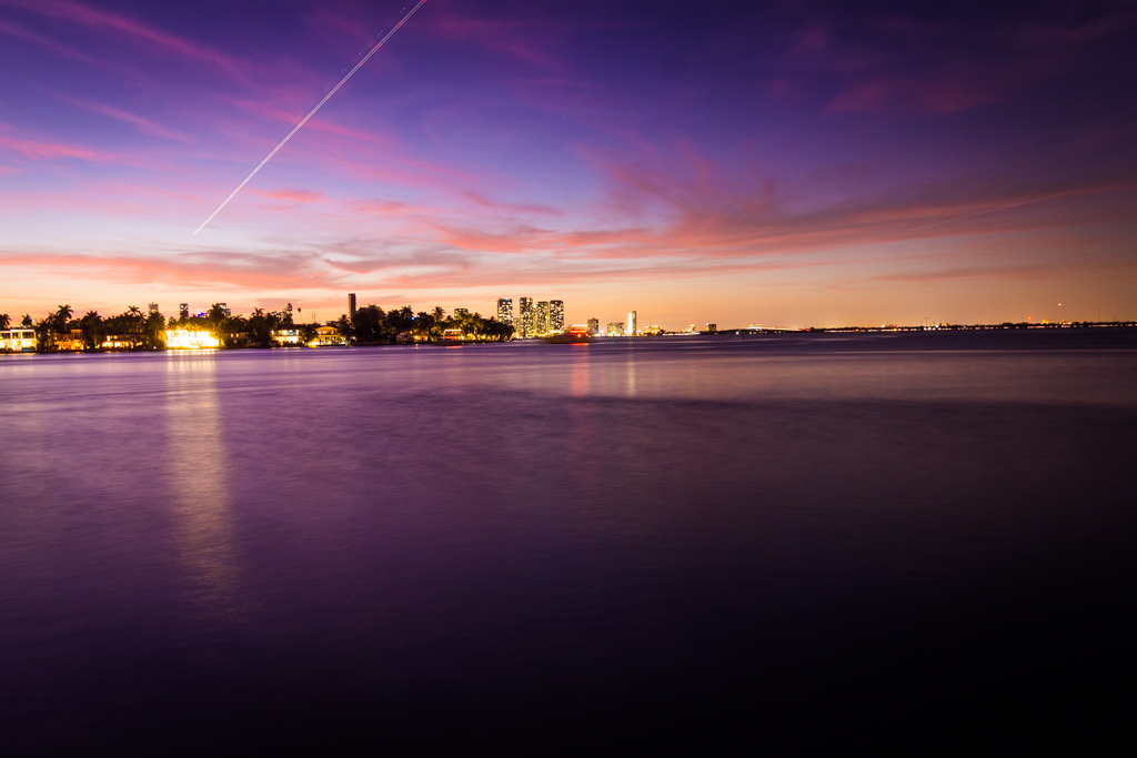 Purple sunset overlooking water in Miami