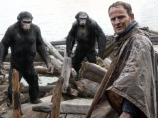 "Malcolm (Jason Clarke) tries to make peace with Caesar, left (Andy Serkis) and Koba (Toby Kebbell). Caesar is a father (two kids at home) and husband, while Clarke has a son who has survived the virus. ""The film centers around the notion of family,"" says Serkis. ""It's the survival of family and what lengths you will go to in order to protect them."""
