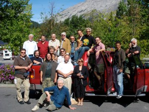 Roy Peterson sits before a who's who of cartoon talent at the 2008 convention of the Association of Canadian Editorial Cartoonists in Banff, Alberta