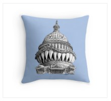 Angry Washington throw pillow