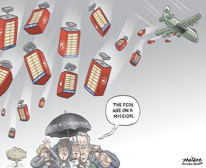 "Editorial cartoon by Graeme MacKay, The Hamilton Spectator - Saturday April 25, 2015 Canada Post strikes back in mailbox battle  Canada Post has asked the courts to strike down Hamilton's mailbox installation bylaw the day after eight charges were laid under the new rules. Canada Post spokesperson Jon Hamilton said the legal counter-move came after the agency received a city order to stop ongoing installation of the controversial community mailboxes based on the recently passed bylaw. He said he wasn't aware of any charges under the bylaw, but added a hearing to consider Canada Post's application is scheduled for April 28. City spokesperson Mike Kirkopoulos said Friday eight charges related to three unidentified mailbox locations were sworn late Thursday Ð six against Canada Post and two against a subcontractor, SNC Lavalin. He couldn't immediately comment on what the latest court filing means to the city. ""We regret that court action is necessary É but we're at a point where we need to continue to move forward,"" said Hamilton, noting, the agency has been in contact with the city since last June over the planned installations.   The legal battle started when the city enacted a new bylaw earlier this month that requires the Crown corporation to apply for a $200 permit for each of an estimated 4,000 community mailboxes meant to replace door-to-door mail delivery in Hamilton. Council followed up on Wednesday by asking its lawyers to file a court application to ""restrain"" ongoing installation by Canada Post. The agency's counter-move appears to have been filed first, however. Canada Post has argued from the get-go its federal mandate trumps municipal bylaws and installation of the first of 1,000 mailboxes on the Mountain began last Friday. (Source: Hamilton Spectator) http://www.thespec.com/news-story/5575336-canada-post-strikes-back-in-mailbox-battle/ Hamilton, Canada, Canada Post, mail, post, postal service, Superbox, court, legal, military, mission, bomb"