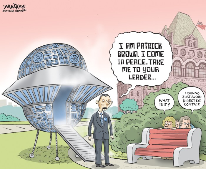 Editorial cartoon by Graeme MacKay, The Hamilton Spectator - Wednesday May 13, 2015 Meet Patrick Who, OntarioÕs new Progressive Conservative leader  The only thing that is absolutely certain about Patrick Brown, the new Leader of the Progressive Conservative Party of Ontario, is that he loves the political process. He has attended an enormous number of community events, everywhere from his federal riding in Barrie, Ont., to the state of Gujarat in India Ð where he made a particularly rewarding connection with the future prime minister of India, Narendra Modi. Long-time MPP and relatively moderate Christine Elliott was expected to easily win the leadership when the campaign began, but Mr. BrownÕs relentless contact-making, politicking and membership-selling put him far ahead in the end. Mr. Brown was rather a silent MP in Ottawa, so itÕs hard to make out what he stands for. There is evidence of his being a social conservative, but on becoming leader, he was quick to say he would not revisit divisive social issues. He now calls himself a pragmatic conservative, and he points out that he has attended Gay Pride events in Barrie. His surprising campaign has drawn attention to the fact that there are no limits to campaign contributions from any single person or corporation in Ontario party leadership races Ð a situation that needs to change. His larger donors range from the proprietor of Canada Cannabis Corp. to the owner of the Barrie Colts hockey team, to an onion-farming corporation and the owner of a chain of hotels across Canada. The Ontario Liberals have been in power ever since 2003. In the past two provincial elections, the Conservatives, led by Tim Hudak, offered a platform and a tone modelled on what got them Mike Harris elected in the mid-1990s. It might as well have been called Common Sense Revolution II. They are still in opposition. Mr. Brown needs to win a seat in the Legislature before long, but more importantly, he needs to articulate a substantial