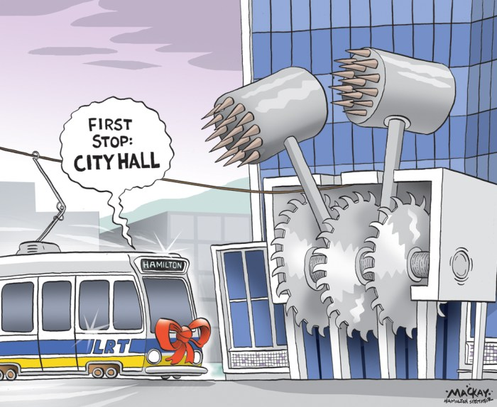 "Editorial cartoon by Graeme MacKay, The Hamilton Spectator - Wednesday May 27, 2015 Wynne promises $1-billion for Hamilton LRT, GO transit  Premier Kathleen Wynne got a sustained ovation when she announced up to $1 billion to build a light rail line from McMaster University to the Queenston traffic circle, with an eye to eventually reach Eastgate Square. But Transportation Minister Steven Del Duca earned the best response when he stopped to note: ""Yeah, I said 'L'. You heard me say 'L.'"" The line will also send a spur to the new James Street GO Station and connect with the existing Hunter station via a Òhigh orderÓ pedestrian connection that will prioritize walking traffic.  While the funded line will end for now three stops short of the edge of Stoney Creek, east enders will see a new GO Train station built by 2019 at Centennial Parkway, Del Duca announced. ThatÕs also the year construction is slated to start on the LRT line, although procurement is scheduled to begin in 2017 Ð before the next election. Wynne joked Òby the time all this is built, I wonÕt be in this job,Ó but later added responsible governments have to Òthink beyond the next election cycleÓ and make longterm investments. ÒThis is monumental for Hamilton,Ó said Mayor Fred Eisenberger, who called light rail transit a Òsensible, affordable transportation system that lifts our entire community.Ó City council will eventually have to sign off on a master agreement with Metrolinx that will spell out everything from who operates the system to what costs will be covered by the city to how a long construction period will be phased. Eisenberger acknowledged a years-long build Ð a prime concern for city councillors opposed to the project Ð Òis going to be a challenge.Ó ÒThere will be disruptions É but over the long term, the result is going to beneficial to everybody,Ó he said. ÒThe hard works actually starts now.Ó The mayor doesnÕt believe those challenges will scuttle the project, however, despite i"