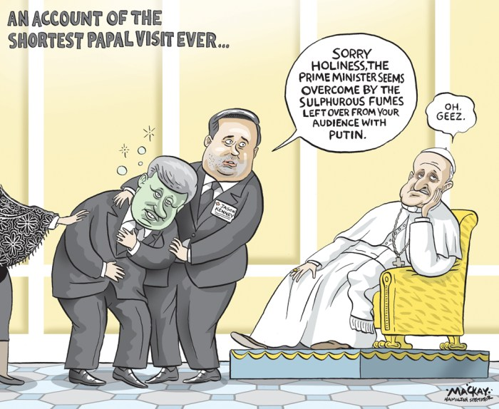 Editorial cartoon by Graeme MacKay, The Hamilton Spectator - Friday June 12, 2015 Harper meets pope, does not seek apology on residential schools Prime Minister Stephen Harper raised the troubling findings of the residential schools commission with Pope Francis at the Vatican Thursday, but appeared to have stopped short of inviting him to Canada to apologize. Instead, Harper referred to a letter sent earlier in the week to the Vatican by his aboriginal affairs minister that merely informed the Holy See of the commission. ÒPrime Minister Harper also drew attention to the letter sent by Minister (Bernard) Valcourt to the Holy See regarding the Truth and Reconciliation Commission,Ó HarperÕs office said without elaborating. HarperÕs spokesman did not respond to a request for clarification. A separate readout from the Vatican did not mention the residential schools issue among the topics discussed. Harper instead chose to pursue the theme that has dominated his six-day trip to Europe Ñ his condemnation of Russian President Vladimir Putin, who was at the Vatican on Wednesday for his private audience with Francis. Harper went into the meeting facing calls to use the occasion to secure a papal apology for the churchÕs role in CanadaÕs residential school legacy. Perry Bellegarde, the national chief of the Assembly of First Nations, says the meeting will be a Òprime opportunityÓ for the prime minister to raise the issue. The Truth and Reconciliation Commission, which spoke to thousands of residential school students and documented their experiences, issued 94 recommendations last week that included a call for a papal apology on Canadian soil. (Source: Toronto Star) http://www.thestar.com/news/canada/2015/06/11/harper-meets-pope-does-not-seek-apology-on-residential-schools.html Canada, Vatican, #Pontifex, Pope, Francis, Pontiff, Roman Catholic, Vladimir Putin, Russia, diplomacy, Jason Kenney