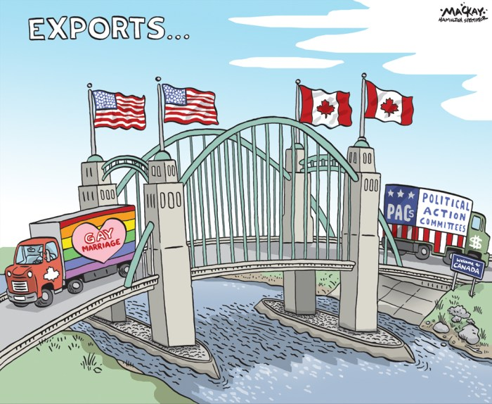 "Editorial cartoon by Graeme MacKay, The Hamilton Spectator - Saturday June 27, 2015 The U.S. Supreme Court has made same-sex marriage legal throughout America, ruling Friday that the constitution gives gay and lesbian couples the same rights as straight couples. The historic decision invalidates the same-sex marriage bans of 13 states, from Texas on the Mexican border to Michigan and North Dakota on the Canadian border. The vote was 5-4, reflecting the deep divide on the issue in American society. The courtÕs four liberals were joined by the conservative Anthony Kennedy, who wrote his third landmark opinion expanding gay rights. In powerful, unequivocal language, Kennedy declared same-sex relationships no less worthy of the sacred institution of marriage than relationships between men and women. (Source: Toronto Star) http://www.thestar.com/news/world/2015/06/26/us-supreme-court-legalizes-same-sex-marriage-nationwide.html Meanwhile, a growing number of third parties are exploiting a loophole in the law that puts no serious restrictions on how much is raised or spent before the campaign officially begins. Canada's electoral laws are intended to limit the influence of big money in campaigns by enforcing strict contribution limits, making the names of all donors public and banning donations from corporations and unions. The newest entrants are Engage Canada and HarperPAC, and they are not really third parties so much as offshoots of the three main political parties. Engage Canada was started by two former senior Liberal staffers in Ontario, Don Guy and Dave Gene, and Kathleen Monk, an equally prominent federal NDP strategist. Take my word for it, because you won't find any disclosure of who is behind the group from its website.  On the other side is HarperPAC. The name tells you all you need to know. The group is a ""political action committee"" in the U.S. mould and dedicated to re-electing the Harper government. It's the brainchild of Stephen Taylor, the form"