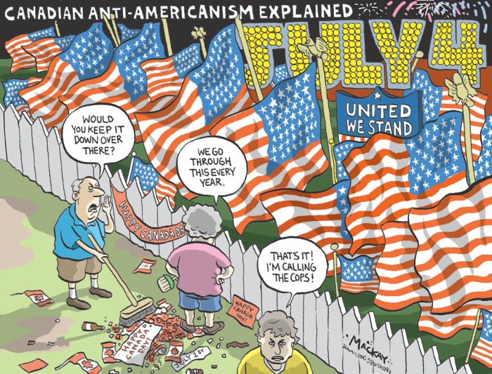 Editorial Cartoon by Graeme MacKay, Editorial Cartoonist, The Hamilton Spectator - July 3, 2007 America's birthday from Canada editorial cartoon, 2007, USA, Canada, patriotism, July 4, Canada Day, Independence day, holiday, national birthday
