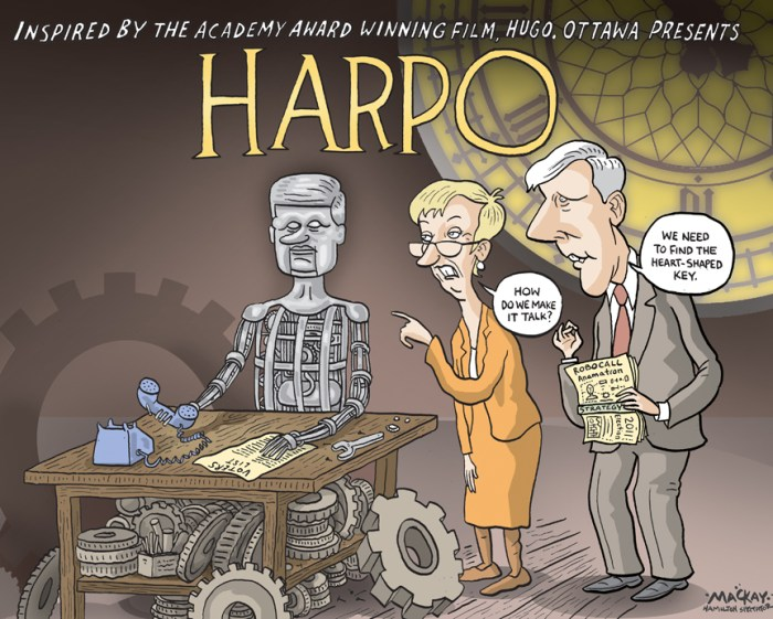 "By Graeme MacKay, The Hamilton Spectator, Tuesday February 28, 2012 Harper denies robocall charges Standing firm amid questions and allegations of a political conspiracy, Prime Minister Stephen Harper said he had no knowledge of any wrongdoing in the robocalls scandal, and challenged the opposition parties to prove his Conservatives were guilty. On the first day back for parliamentarians after a week off, the opposition parties used the majority of question period to demand answers from the government about what Conservatives knew about the robocalls and when they knew it. A Postmedia News-Ottawa Citizen investigation revealed last week that Elections Canada has traced fraudulent phone calls made during the federal election to an Edmonton company that worked for the Conservative party across the country. Opposition parties demanded the Conservatives come clean and provide information proving they were not involved in any telephone campaign to harass voters and direct them to non-existent polling stations. ""The prime minister must be tough on crime,"" interim NDP leader Nycole Turmel said. ""Will he commit all the necessary resources to investigate and prosecute and put an end to vote suppression?"" Harper rejected what he called ""broad, sweeping"" allegations from the opposition parties, and put the onus on the NDP and Liberals to provide evidence of wrongdoing. ""If the NDP has any information that inappropriate calls were placed Ñ and we certainly have information in some cases and we have given that to Elections Canada Ñ then I challenge that party to produce that information and give it to Elections Canada,"" he said. (Source: Vancouver Sun) Canada, Harpo, Stephen HArper, Hugo, parody, movie, Nicole Tyrmel, Bob Rae, Robocall, robot, election, campaign"