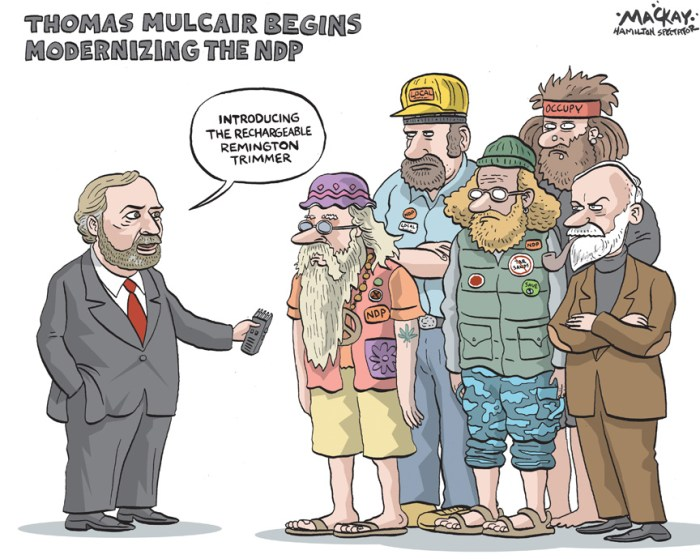 By Graeme MacKay, The Hamilton Spectator, Tuesday March 27, 2012 Thomas Mulcair: a principled pragmatist who hits to hurt As Thomas Mulcair rises to the position of Leader of the Official Opposition, he doesnÕt fear Conservative attempts to define him as aÊvicious, hard-left socialist and quickly drag down his standing among Canadian voters who are just getting to know him. ÒI come from a family of 10 children, there is nothing that they can say about me that would be worse than what IÕve heard from myÊbrothers and sisters,Ó the new NDP Leader said at his inaugural news conference. The 57-year-old fluently bilingual lawyer likes to speak about being born in Ontario, growing up in Quebec and having roots acrossÊCanada as his siblings have spread out in the West. The second-born is a product of a bilingual household of Irish descent, in which theÊoldest children went to English school and the youngest ones were taught in French. Mr. Mulcair has politics in his blood, as his lineage on his francophone motherÕs side includes HonorŽ Mercier, a Quebec premier fromÊ1887 to 1891. Some of his best childhood memories include discussions on public affairs at home, or with a Catholic priest at his English-language high school in Laval, north of Montreal. His plans as leader are not so much to rewrite NDP policy as to improve the partyÕs organization and to tweak its messaging for the 21stÊcentury. ÒWe have to refresh our discourse, modernize our approach, and use a language that pleases our supporters, but also attracts people whoÊshare our vision,Ó said Mr. Mulcair, who won on the fourth ballot of the NDP leadership convention on Saturday.Ê(Source: Globe & Mail) http://www.theglobeandmail.com/news/politics/thomas-mulcair-a-principled-pragmatist-who-hits-to-hurt/article2380924/?from=sec431 Canada, Thomas Mulcair, modernization, NDP, beards, hair, trimmer, whiskers, shave