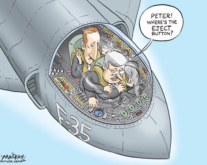 By Graeme MacKay, The Hamilton Spectator, Wednesday April 4, 2012 Auditor general slams CanadaÕs plan to buy F-35 jets Opposition parties accused Prime Minister Stephen Harper of dodging responsibility for the F-35 fiasco and said Defence Minister PeterÊMcKay should be fired for allowing Parliament to be misled about cost overruns and other problems with the trouble-plagued $25 billionÊfighter purchase. ÒItÕs absolutely scandalous that the Canadian government would intentionally provide information that they knew to be false,Ó NDPÊLeader Thomas Mulcair said after the federal auditor general released a report saying defence officials kept Canadians in the dark aboutÊcost overruns and production delays on the aircraft Ottawa plans to buy. ÒMinisters are accountable before Parliament and the Prime Minister is the first among them,Ó Mulcair told the media. ÒDid he (Harper)Êknow that the information was false that the Conservative government was giving? If so, itÕs unconscionable. And, if he didnÕt know,Êfrankly, itÕs a question of incompetence.Ó The criticism mounted even as the Conservative government moved quickly Tuesday to quell the fallout from Auditor General MichaelÊFergusonÕs scathing report, which includes the stunning conclusion that the fighters could cost $10 billion more than the defenceÊdepartment has publicly acknowledged. Harper responded by freezing the budget for the controversial fighter jet purchase and stripped the defence department of responsibilityÊfor the procurement process, handing it instead to a new secretariat within Public Works and Government Services. (Source: Toronto Star)Êhttp://www.thestar.com/news/canada/2012/04/03/auditor_general_slams_canadas_plan_to_buy_f35_jets.html Canada, Auditor General, Peter MacKay, Stephen Harper, F-35, fighter, jet, military, Defence, eject, controls, button