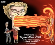 Editorial cartoon by Graeme MacKay, The Hamilton Spectator - Wednesday August 5, 2015 Kathleen Wynne urges voters to turf Harper government  Voters should turf Prime Minister Stephen Harper for showing Ontario Òblatant disrespect,Ó Liberal Premier Kathleen Wynne urged Sunday in one of her strongest attacks yet on the federal Conservatives. Wynne accused the Harper administration of naked partisanship over refusals to smooth a path for her Ontario Retirement Pension Plan and for not doing more to help develop the rich Ring of Fire mineral deposit in northwestern Ontario. She zeroed in on the pension plan, noting HarperÕs government allows the Canada Revenue Agency to provide services to provincial pension plans in Quebec and Saskatchewan. ÒFor him to then turn around and say, ÔYeah, well, we have agreement with other provinces through the CRA and weÕre not going to do that for youÕ É itÕs blatant disrespect for the people of Ontario,Ó Wynne said. ÒThat has to stop.Ó The federal government has joined business groups like the Canadian Federation of Independent Business and the Ontario Chamber of Commerce in saying the premiums that employers would have to pay under WynneÕs pension plan would put jobs in peril. ÒNo matter what the prime minister thinks about the ORPP, he may not be worried about people in Ontario who are anxious about their retirement, but I am,Ó Wynne said. Her push for enhancements to the Canada Pension Plan to boost retirement incomes was brushed aside by Ottawa, prompting her to launch the Ontario plan in 2017. The province wants the CRA to do back-office administration for the pension plan, cutting down on costs and unnecessary duplication. (Source: Toronto Star) http://www.thestar.com/news/canada/2015/08/02/kathleen-wynne-urges-voters-to-turf-harper-government.html Ontario, Canada, Kathleen Wynne, Justin Trudeau, Stephen Harper, fire, attack, election 2015, campaign, criticism, diplomacy