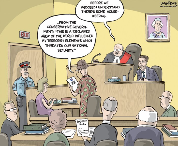 Editorial cartoon by Graeme MacKay, The Hamilton Spectator - Tuesday August 11, 2015 Stephen Harper defends travel ban to terror zones Conservative Leader Stephen Harper is defending his proposal to ban travel to parts of the world controlled by terrorists, saying itÕs not a Òhuman rightÓ that such travel is allowed. ÒThis is limited to only those areas that are clearly under the control of terrorist organizations. WeÕre talking about a few, small number of areas in the world,Ó Harper said Monday morning during a campaign stop in Markham. ÒObviously parts of Iraq and Syria would be the kinds of areas that weÕre talking about,Ó he said. On Sunday, Harper said a newly-elected Conservative government would introduce a legal crackdown on so-called terror tourism and go after Canadians who travel to such areas. Harper said that the government advises against such travel and anyone who does go to these hotspots is Òtaking their life into their hands.Ó ÒFrankly, these are not areas where families go. These are areas where we know why people are really going. They are going to terrorist training,Ó Harper said Monday. ÒThere is no human right to travel and visit ISIS. That is not a human right in this country,Ó he said. At an early-morning event in Montreal, Trudeau dismissed the travel ban idea as little more than a distraction from the Conservatives' dismal economic record. (Source: Toronto Star) http://www.thestar.com/news/federal-election/2015/08/10/stephen-harper-defends-travel-ban-to-terror-zones.html Canada, terror, C-51, anti-Terrorism, Mike Duffy, Nigel Wright, election 2015, court, Senate Expenses, Queen Elizabeth, judge