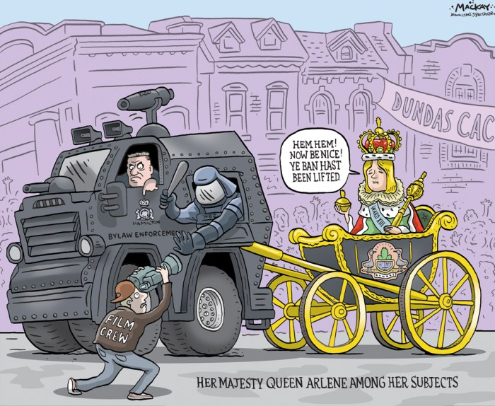 "By Graeme MacKay, Editorial Cartoonist, The Hamilton Spectator - Saturday August 15, 2015 Dundas filming ban lifted with limitations A petition created on Thursday to end the moratorium Ñ that is now not a moratorium Ñ on filming in Dundas has exceeded its original goal of 1,000 signatures. After six days its new target is 2,000. Petition creator and Dundas local Kevin Ramage, 32, is trying to set up a meeting with Coun. Arlene VanderBeek to give the community a voice. He set out to speak to locals and business owners to get a grasp on how they feel about the original ban, and new case-by-case limitations. Meanwhile, the properties that were originally flagged as temporarily unavailable on the Ontario Media Development Corporation (OMDC) website now have a new message. After VanderBeek released her statement of ""re-examination,"" Susan Monarch, manager of tourism Hamilton, told The Spectator on Aug. 7 the wording on OMDC files were changed to say there may be limitations, and if interested in the property to contact the film office. There are three check marks available on the OMDC listings Ñ not available, available and caution Ñ Monarch said. Ramage reached out to VanderBeek Tuesday to set up a meeting, hoping to present his findings, but he has not yet received a response. ""None of the businesses that I spoke to, and that signed the petition, had any knowledge that a moratorium or filming limitations were ever going to be put in place,"" he wrote in the statement. Most business owners pulled Ramage into their back rooms, speaking to him at length about their thoughts on the issue. He said business owners either found out about the changes from customers coming in and asking them why they didn't want production in town, or from the media. ""They were not pleased about the lack of community involvement on the issue."" The decision for the moratorium, and now limitations, were made following discussions with the city's film office staff, some residents and"