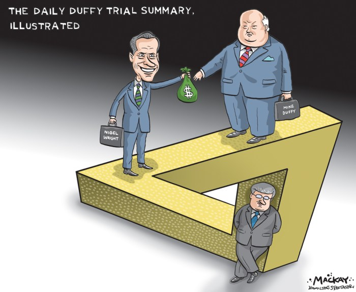 By Graeme MacKay, Editorial Cartoonist, The Hamilton Spectator - Wednesday August 19, 2015 The back and forth continues at the Mike Duffy Trial As the leaders of CanadaÕs three main political parties continue on their respective campaign trails, Stephen HarperÕs former chief of staff and the lawyer for disgraced senator Mike Duffy were expected to continue their sparring in an Ottawa courtroom on Tuesday. Duffy, who was appointed to the Senate in 2008 by Harper, has pleaded not guilty to 31 charges in connection with his Senate office, living and travel expenses. DuffyÕs lawyer, Donald Bayne, spent much of Monday trying to show that it was not Duffy who demanded money and set conditions to rectify the matter but the Prime MinisterÕs Office. Kerry Kolodiazny, a member of the public following the trial, left, uses his laptop to film himself with Nigel Wright, as he leaves the courthouse in Ottawa on Monday. We see Kolodiazy dressed in a flowered sports coat right out of the 1960s with a hat to match, holding his computer as he leans in to address Mr. Wright, who, as usual, is dressed in a fancy, dark suit and tie. Mr. Wright is smiling broadly. Bayne pressed Nigel Wright, who served as Prime Minister HarperÕs chief of staff from 2010 to 2013, to explain a ÒscenarioÓ co-ordinated between top aides in HarperÕs office and Duffy that included having the senator publicly admit he made a mistake with his expenses and promise to repay them. The initial plan was to have the party cover the bill, as well as DuffyÕs legal expenses and Wright has said he told Harper shortly afterward that Duffy would repay the expenses. Wright wound up writing a $90,000 cheque to Duffy to cover the expenses, telling several people in HarperÕs office as well as some Conservative Party leaders. Wright repeated that he never told Harper about the check. Meanwhile, the campaigns roll on. (Source: Radio Canada) http://www.rcinet.ca/en/2015/08/18/the-back-and-forth-continues-at-the-mike-duff