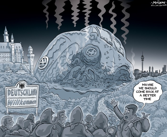By Graeme MacKay, Editorial Cartoonist, The Hamilton Spectator - Wednesday September 23, 2015 This is the refugee debate we ought to be having Dieter Zetsche surprised attendees of the Frankfurt auto show recently when he interrupted a presentation to opine on the 800,000 Syrian refugees that are expected to flood into Germany this year. The mustachioed chairman of Daimler AG, which makes Mercedes luxury cars, suggested the influx of asylum seekers could Òhelp foster another economic miracleÓ by offsetting the challenges posed by the countryÕs rapidly aging population. Zetsche went on to say the carmaker would help pay for housing for migrants in Stuttgart, while rival Volkswagen, not to be outdone, said it would find them trainee jobs. In Canada, by contrast, politicians have failed to draw a similar link between accepting large numbers of Syrian refugees and the potential for future economic growth, despite being in the midst of a federal election where economic matters are said to be top of mind among voters. Instead, the debate is focused narrowly on the need to balance humanitarian assistance with national security concernsÑnot that the number being talked about would have much of an economic impact anyway. The Harper governmentÕs promise to take another look at its policy, following significant public outcry, only resulted in a commitment to speed up by 15 months the resettlement of 10,000 Syrians, not accept more of them. Meanwhile, Tom MulcairÕs NDP has proposed bringing 10,000 refugees into the country by the end of this year, while Justin TrudeauÕs Liberals have promised to bring in 25,000 by January. It all raises an obvious question: Are we not only missing out on the chance to help those in desperate need, but a historic economic opportunity, too? (Continued: MacLeans) http://www.macleans.ca/economy/economicanalysis/this-is-the-refugee-debate-we-ought-to-be-having/ Germany, migrants, refugees, Syria, Europe, Volkswagen, automobile, emissions, stan