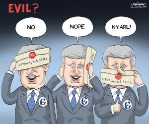 By Graeme MacKay, Editorial Cartoonist, The Hamilton Spectator - Thursday September 26, 2015 Dispute over U.S. Steel Canada restructuring sent to mediation The dispute between United States Steel Corp. and its stakeholders over the future of U.S. Steel Canada Inc., has been sent to mediation by the Ontario Superior Court judge overseeing the Canadian unitÕs restructuring. The issues in dispute between the United Steelworkers union, the Ontario government, salaried active and retired employees, and a former president of its predecessor company Stelco Inc. on one side and U.S. Steel on the other, will be examined by former Ontario Superior Court associate chief justice Douglas Cunningham in a three-day session scheduled to begin next week. ÒThe mediation shall address the feasibility of a comprehensive agreement among the parties,Ó Justice Herman Wilton-Siegel said in an order. The mediation will also address a business plan for the Canadian unit, its potential sale, the shift of production of high value-added steel to the United States and U.S. SteelÕs claim of more than $2-billion against the Canadian unit. U.S. Steel Canada has been operating under the CompaniesÕ Creditors Arrangement Act since last September, but the announcement by its parent company that it plans to shift production of about 180,000 tons of high-quality steel annually out of its Canadian operations has sparked an imminent crisis in the restructuring. Shifting production would diminish the value of the Canadian assets in the eyes of potential buyers, steel industry sources said. U.S. Steel has started a sales process that has led to a bid by one competitor Ð Essar Steel Algoma Inc., which is based in Sault Ste. Marie, Ont., but has the backing of a deep-pocketed parent company in India. Potential buyers also need to wonder whether other steel-making contracts will be shifted out of Canada, leaving the Canadian operations to depend entirely on the spot steel market. Stakeholders have quest