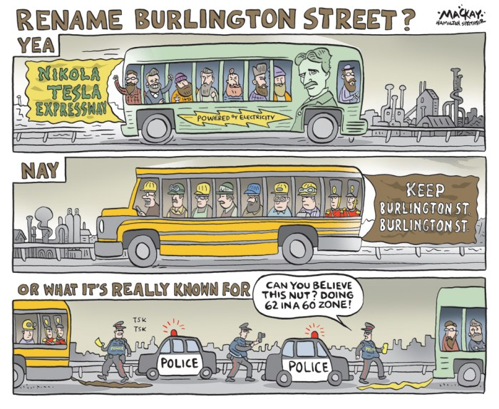 "By Graeme MacKay, Editorial Cartoonist, The Hamilton Spectator - Saturday September 26, 2015 Local boosters have been successful in getting the eastern section of Burlington Street dubbed the Tesla Expressway, for the Serbian inventor of the AC current. The stretch will be an ""expressway"" in name only since the speed limit won't be raised. (Source: Hamilton Spectator) Hamilton, Speed Limits, Burlington Street, expressway, Nicola Tesla, electricity, hipster, Green energy, industry"
