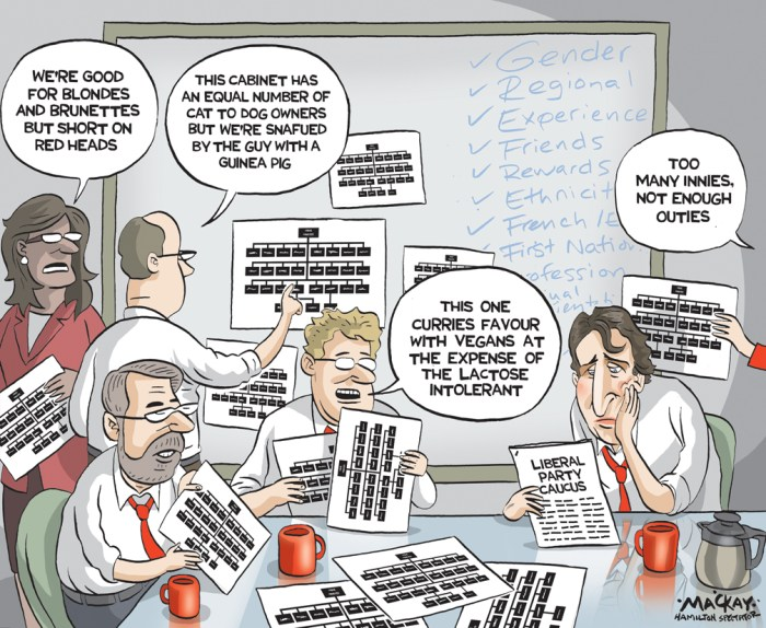 By Graeme MacKay, Editorial Cartoonist, The Hamilton Spectator - Tuesday November 3, 2015 Memo to Liberal MPs: If youÕre still waiting for Justin Trudeau to call and offer you a cabinet post, you can stop the wait. ThatÕs because Trudeau has already selected his new cabinet and made his last telephone calls to the lucky incoming ministers several days ago. All of the ministers now know their new portfolio and all have been sworn to the utmost secrecy until Nov. 4 when Trudeau is formally sworn in as prime minister and unveils the full cabinet. And despite all the post-election speculation about how difficult it would be for Trudeau to pick the cabinet from the Òabundance of richesÓ that he was handed when the Liberals won a majority government and 184 seats in the Oct. 19 election, the job turned out to be surprisingly easy. When Trudeau got down to work on the cabinet in the days immediately after the LiberalsÕ victory celebrations, he made his choices based on several key factors, according to Liberal insiders familiar with the selection process. These factors include the size of the cabinet, gender equality, ethnic diversity, regional distribution and a balance of new and veteran MPs, but leaning to young and new versus old and experienced. Some critics have suggested Trudeau is putting gender and regional concerns ahead of talent as the top priority in selecting the ministers. In reality, though, any cabinet, regardless of whether it is Liberal or Conservative, Òis never a pure and simple meritocracy,Ó says a key Trudeau adviser. ÒObviously there are expectations if you are elected, such as every province gets a cabinet minister, and you look at regional balance, gender, and diversity as well as competence.Ó On size, the new cabinet is expected to have 28 members. Trudeau wanted to keep the number below 30 to show he intended to run a leaner, more efficient cabinet team than did Stephen Harper. The last Conservative cabinet had 39 ministers, including 2