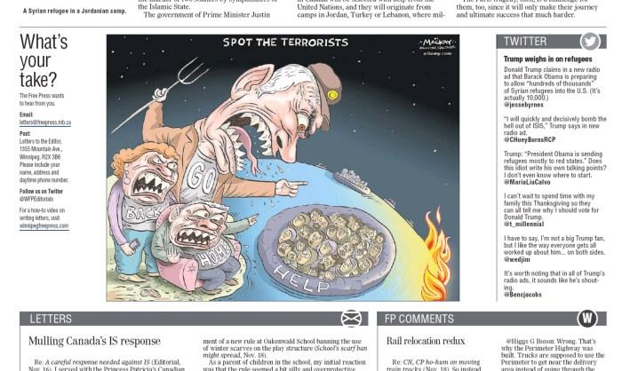 Winnipeg Free Press, Thursday November 19, 2015