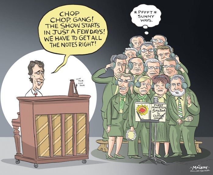 "By Graeme MacKay, Editorial Cartoonist, The Hamilton Spectator - Tuesday November 24, 2015 Justin Trudeau, premiers seek to unify Canada's message on climate change With a first ministers meeting set to take place in Ottawa today just one week before the start of the Paris climate talks, a number of premiers are reminding Justin Trudeau he's not swooping in at the 11th hour to save the day. In fact, some are voicing concern the new prime minister may ""fiddle around"" with plans already in place. Environment Minister Catherine McKenna reiterated a key Liberal campaign pledge on Friday: ""We promise to provide national leadership to take action on climate change, put a price on carbon and reduce carbon pollution,"" she told attendees of the Canada 2020 conference on Friday. Earlier in the day, Quebec Premier Philippe Couillard reminded journalists at the same conference that the provinces have been showing leadership on this file for years. ""I am very happy to be working with the federal government and colleagues around the table, but let's resist the temptation to start from scratch."" Saskatchewan Premier Brad Wall has been among those most resistant to putting a price on carbon for his province, expressing concern that the harm to the economy would outweigh environmental benefits. That said, he is expected to unveil a plan later on Monday to have his province get at least half of its electricity supplied by renewable resources. New Brunswick Premier Brian Gallant says he also intends to make sure economic considerations remain front and centre at the meeting. ""We are all very much focused on creating jobs and growing the economy so we have to have these subjects come up in the same conversation to make sure we are growing the economy in a sustainable way,"" he said Saturday.(Source: CBC News) http://www.cbc.ca/news/politics/trudeau-premiers-climate-change-meeting-1.3330284 Canada, Justin Trudeau, Kathleen Wynne, Rachel Notley, Philippe Couillard. Stephen McNe"