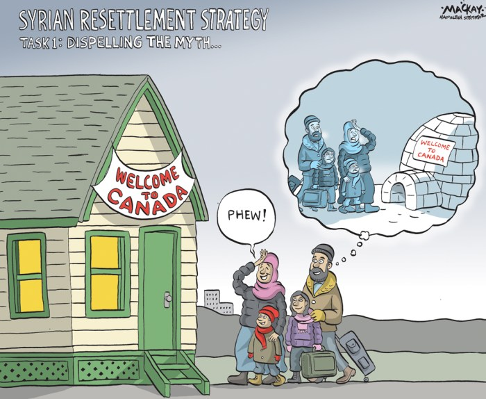 By Graeme MacKay, Editorial Cartoonist, The Hamilton Spectator - Wednesday November 25, 2015 10,000 Syrian refugees to be resettled by yearÕs end, 15,000 more by February The Liberal government will not meet its Dec. 31 deadline to resettle 25,000 Syrian refugees and now says it aims to complete the program by February. The new target is to bring 10,000 people to Canada by year's end and the remainder in the first two months of 2016. The group will be a mix of government-assisted and privately sponsored refugees, all of whom will be identified by the end of next month. The Canadian government is working with the United Nations High Commissioner for Refugees as well as the Turkish government to find suitable candidates. Priority for government refugees will be given to complete families, women at risk, members of sexual minorities and single men only if they are identified as gay, bisexual or transgender or are travelling as part of a family. Private sponsors have no restrictions on whom they can bring over and the majority of refugees expected to arrive by the end of the year will be coming via private groups. All health and security screening will take place overseas and once that's complete, refugees will be flown to Toronto and Montreal, largely on chartered aircraft. From there, they will be spread across 36 different destination cities which already have resettlement programs in place. Temporary accommodation will be provided by the military if required, but the government aims to have lodging in place in the host cities and towns. The federal government cost for the program is an estimated $678 million over the next six years but doesn't include additional funding that could be necessary for provinces and territories. More than 500 officials have been assigned to work on the massive resettlement program, one of the largest of its kind in the world as it relates to the Syrian refugee crisis. (Source: Hamilton Spectator) http://www.thespec.com/news-s