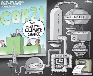 By Graeme MacKay, Editorial Cartoonist, The Hamilton Spectator - Saturday November 28, 2015 Paris climate talks: powerful business lobbies seek to undermine deal As the UNÕs climate talks in Paris begin, the lobbying and public relations push from some of the biggest corporations responsible for climate change has gone into overdrive. What are the messages theyÕre so keen to spread, and what will they mean for the COP21 conference Ð and for the climate? A recent report from the NGO Corporate Europe Observatory reveals that whatÕs on offer at COP21 is nothing short of a climate catastrophe, a guaranteed recipe to cook the planet. But rather than sending the dish back, political leaders have asked for seconds, bringing the very companies responsible for the problem ever closer into the UN fold. James Bacchus, a trade expert at the International Chamber of Commerce, says: ÒThis issue is important for governments to address but it is far too important to leave to governments alone.Ó Fortunately for Bacchus, the UN agrees. The problem, however, is that is has also succeeded in creating several platforms to ensure business-friendly proposals are at the heart of climate policy-making, rather than vice versa. New markets, experimental technologies, all endorsed so polluters donÕt have to change their business models. The UNÕs climate chief, Christiana Figueres Ð who before taking up her post was principal climate change advisor to Latin AmericaÕs leading energy utility, Endesa Ð has even told the world to Òstop demonising oil and gas companiesÓ. (Continued: The Guardian) http://www.theguardian.com/sustainable-business/2015/nov/27/paris-climate-talks-un-business-lobbying-deal-governments Climate Change, COP21, Paris, conference, environment, business, summit, machinery, talk, action