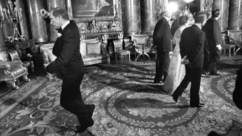 Canadian Press photographer Doug Ball took this iconic photo of Pierre Trudeau performing a pirouette during a photo session of several leaders at Buckingham Palace on May 7, 1977