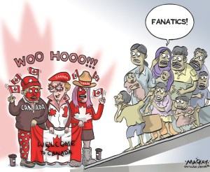 "By Graeme MacKay, Editorial Cartoonist, The Hamilton Spectator - Friday December 11, 2015 Syrian refugees now in Toronto look forward to 'beautiful future' Georgina Zires and Kevork Jamkossian looked both happy and haggard while toting their 16-month old daughter as they arrived in Toronto after spending almost a day in transit with more than 160 other refugees who have fled civil war in Syria to start a new life in Canada.  Waiting to greet them at Pearson airport Thursday night was Prime Minister Justin Trudeau and Ontario Premier Kathleen Wynne, who helped the family pick coats from piles of donated clothing. ""Now, we feel as if we got out of hell and we came to paradise,"" Jamkossian told Trudeau through an interpreter. ""That's how we feel.""  The couple was joined by more than 160 other Syrian refugees who arrived in Toronto in the first government aircraft carrying refugees, as the Canadian government works to fulfil a pledge to bring in 25,000 refugees by the end of February. In Syria, Zires worked as a clerk in a women's clothing shop and Jamkossian worked as a blacksmith. A better life for their daughter Madeleine was the main motivation for coming to Canada.  ""She is the reason for us to come here because here she can do many things,"" Zires said, also through an interpreter. ""In other countries, she can do nothing."" After landing in Toronto, the new arrivals were given warm coats, social insurance numbers and health cards after a security and health screening at a special airport terminal renovated for their arrival. After processing, they were bused to an airport hotel to rest.  ""They step off the plane as refugees, but they walk out of this terminal as permanent residents of Canada with social insurance numbers, with health cards and with an opportunity to become full Canadians,"" Trudeau he said. Shadi Mardelli, who spoke to reporters at the airport shortly after he was processed, said he's looking forward to a ""beautiful future"" in Canada. (Sou"