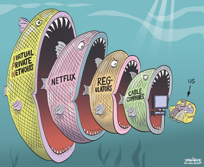 "Editorial Cartoon by Graeme MacKay, The Hamilton Spectator Ð Thursday February 11, 2016 Netflix border crackdown cuts off some customers, but unblocking services fight back Yes, the Netflix crackdown on cross-border watching is real. Customers worldwide have grown accustomed to sneaking over virtual walls to stream shows and movies restricted to other countries. Now, Netflix is stopping some virtual travellers at the border, finally enforcing its age-old policy that says viewers aren't allowed to access Netflix in other regions. Meanwhile, unblocking companies that help virtual travellers defy the rules are fighting back. And some are already declaring victory in the battle to keep Netflix's borders wide open. Numerous customers with the unblocking company Unblock-Us started reporting technical problems soon after Netflix announced its crackdown on Jan. 14. For a fee, unblocking services do the technical legwork to help customers hide their location so they can hop borders. For example, the service would help a Netflix Canada customer watch Sons of Anarchy on Netflix U.S. The Canadian version doesn't carry the show. ""Help,"" wrote one border hopping customer on the Unblock-Us tech support site on Jan. 27, explaining that he lives in Toronto and can no longer stream content on Netflix UK. Another customer posted, ""I live in Norway and am currently using your service to watch American Netflix, but now it doesn't work anymore."" ""Netflix blocked in Australia,"" reported someone else. Barbados-based Unblock-Us did not respond to CBC News's request for comment. But a post on its site updated on Feb. 3 declared, ""We have a solution."" It said blocked customers need to contact the support team, which would ""have some simple steps for you to follow"" to resume service. (Source: CBC News) http://www.cbc.ca/news/business/netflix-crackdown-1.3440348 Netflix, cable, television, entertainment, CRTC, consumers, fish, VPN, Internet"