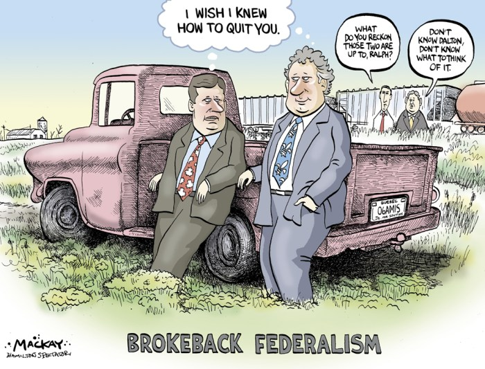 "Editorial Cartoon by Graeme MacKay, The Hamilton Spectator Ð Friday March 10, 2006 Dawn of a new era? Quebec and Ottawa are close to an agreement that will allow the province to have a voice at UNESCO, Prime Minister Stephen Harper said yesterday in emphasizing his government's ""open federalism"" policy toward Quebec. For the first time in 22 years, a Canadian prime minister met with a Quebec premier at the National Assembly in what Premier Jean Charest dubbed the beginning of a new era of federal-provincial co-operation. It was the third face-to-face meeting between the two leaders since Mr. Harper's government was sworn in. An agreement on the United Nations Educational, Scientific and Cultural Organization carries great symbolic meaning for the Quebec government in its bid to prove that Mr. Harper's proposals for renewing federalism can work in the province's favour. ""Mr. Charest and I have agreed to task our respective ministers to move forward on ensuring that Quebec's voice be heard at UNESCO,"" Mr. Harper said at the conclusion of a two-hour meeting. ""There are a couple of proposals on the table. And as I say, we are flexible and very optimistic we are going to reach a solution sooner rather than later."" (Source: Globe & Mail) http://www.theglobeandmail.com/news/national/dawn-of-a-new-era/article18158001/ Canada, Quebec, Stephen Harper, Jean Charest, Brokeback Mountain, federalism, Dalton McGuinty, Ralph Klein"
