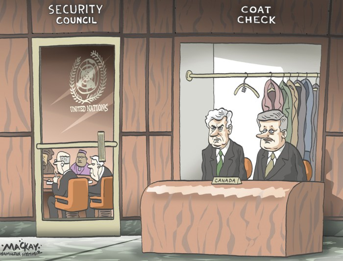 """Editorial Cartoon by Graeme MacKay, The Hamilton Spectator Ð Wednesday, October 13, 2010 Tories blame Ignatieff for losing bid for UN seat After losing its bid for a coveted seat on the UN Security Council to Portugal on Tuesday, the Conservative government responded by defending its campaign and blaming Liberal Leader Michael Ignatieff. """"I do not think that this is a repudiation of Canada's foreign policy,"""" Foreign Minister Lawrence Cannon told reporters Tuesday afternoon. """"Canada ran a campaign based on principle; we ran a strong campaign. Unfortunately, back home in Canada, the leader of the opposition determined that Canada does not speak with one voice. """"In my view, (Ignatieff's statements) were used as an issue to prevent Canada from succeeding to the Security Council."""" Ignatieff had accused the Harper government of ignoring the UN during its four years in office. """"This is a government that for four years has basically ignored the United Nations and now is suddenly showing up saying, ÔHey, put us on the council,'"""" Ignatieff said in September. Ignatieff responded Tuesday afternoon by saying it was a """"sad day"""" for Canada and the international community has sent the Conservatives a message. """"This is the first time in sixty years we've failed to secure a seat on an institution that this country helped found,"""" he told reporters, noting the roles in the UN played by former prime ministers Lester Pearson and Brian Mulroney. """"This is a pretty depressing story about the government's performance on foreign policy."""" Ignatieff called the blame the Tories laid at his feet """"ridiculous. (Source: CTV News) http://www.ctvnews.ca/tories-blame-ignatieff-for-losing-bid-for-un-seat-1.562445 Canada, Stephen Harper, Lawrence Cannon, U.N. Security Council, United Nations, coat check, diplomacy"""