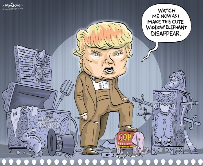"Editorial Cartoon by Graeme MacKay, The Hamilton Spectator Ð Thursday March 3, 2016 US election 2016: US Republicans express Donald Trump fears Mr Trump has declared himself a ""unifier"", but he's strongly opposed by most of the Republican establishment. Senator Lindsey Graham warned on Wednesday that Mr Trump would lose in November's election. And former nominee Mitt Romney is to make a speech on Thursday in which he is expected to challenge Mr Trump. He has been fiercely critical of the businessman, whose hardline stance on issues like immigration put him at odds with Republican orthodoxy. His victories on so-called Super Tuesday consolidated his position as the most likely Republican candidate to vie for the White House against the Democratic nomination. Texas Senator Ted Cruz walked away with three states, bringing his total to four, while Florida Senator Marco Rubio won his first state (Minnesota) in the primary race to date. Mr Trump will be joined by Mr Cruz, Mr Rubio and Ohio governor John Kasich at a Fox News Republican debate on Thursday, but retired neurosurgeon Ben Carson, who has failed to win any states, said he would not be attending. In a statement on Wednesday, he said he saw ""no path forward"" for his presidential campaign, though he has stopped short of ending his race completely. Several party leaders, including House Speaker Paul Ryan and South Carolina Senator Lindsey Graham, have spoken out against Donald Trump's controversial policies and positions in recent days. His latest controversy centres on his failure to disavow David Duke, a leader of the white supremacist Ku Klux Klan, who endorsed him. He later said he had on several occasions in the past disavowed Mr Duke. Mr Ryan forcefully denounced the real estate mogul on Tuesday, saying: ""They must reject any group or cause that is built on bigotry. This party does not prey on people's prejudices."" ""Let me make it perfectly clear, Senate Republicans condemn David Duke and the KKK,"