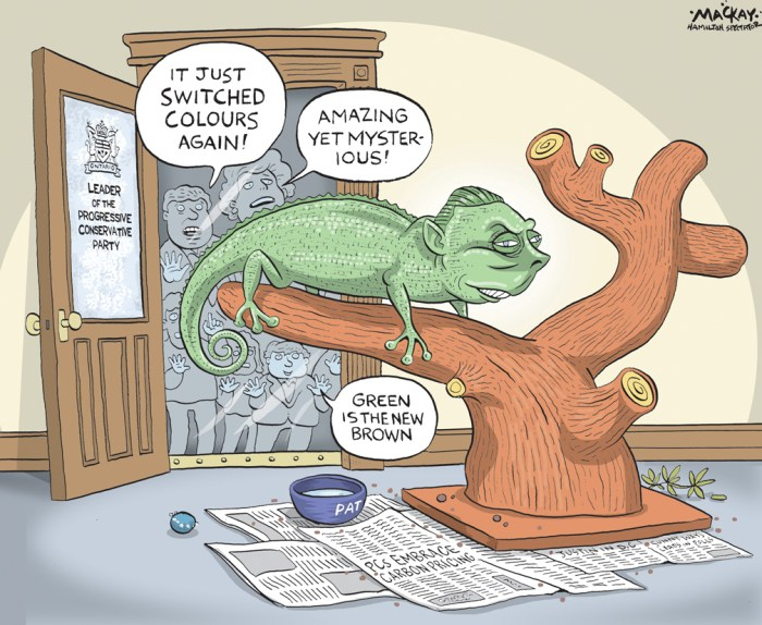 Editorial Cartoon by Graeme MacKay, The Hamilton Spectator Ð Tuesday March 8, 2016 Patrick Brown sees a new, inclusive Ontario PC party Taking aim at climate change, Progressive Conservative Leader Patrick Brown is signalling his party will propose a ÒsensibleÓ price on carbon emissions. ÒWe have to do something about it,Ó he told about 1,700 delegates Saturday evening at the first PC annual meeting since taking the partyÕs helm in May. ÒSensible carbon pricing doesnÕt have to be a contribution in terms. But it cannot be a cash grab,Ó he added in a reference to Premier Kathleen WynneÕs cap and trade plan, which will add an average 4.3 cents to a litre of gasoline and $5 to homeownersÕ monthly natural gas bills. The line drew lukewarm applause and a shout of ÒnoÓ from one vocal skeptic and some groans in a crowd that came to its feet several times during the 26-minute address. ÒI spoke from the heart,Ó Brown told reporters later, noting he had briefed his MPPs about the stance and got Òpractically universalÓ support. ÒWe have a grassroots party. People are entitled to have divergent opinions. ... ItÕs healthy.Ó Although Brown did not detail how his plan would work as the party begins deliberations on an election platform for 2018 and freshens its face with a new logo, he promised a carbon tax that is Òrevenue neutralÓ to the government and will come with Òcorresponding tax cuts for individuals and businesses.Ó Promoting himself as a ÒpragmaticÓ Progressive Conservative, Brown said the Liberals, who have trounced his party in four elections since 2003, are not expecting a more nimble and canny rival than in years past, when Tory campaigns were scuppered by ideas that flopped. ÒThere is one thing that Kathleen Wynne fears more than anything else: a Progressive Conservative Party that has the courage to change,Ó he said to a standing ovation at a downtown convention centre. In a reference to the ill-fated Tim Hudak PC election promise in 2014 to cut 100,000 p