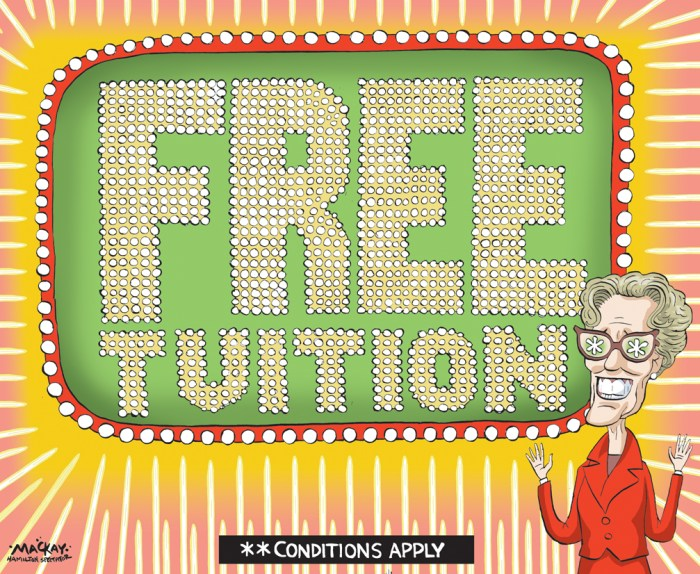 Editorial Cartoon by Graeme MacKay, The Hamilton Spectator Ð Thursday March 17, 2016 ÔFreeÕ tuition in Ontario doesnÕt mean there are no costs to students Ontario Premier Kathleen Wynne says she worries about her government pitching a new student grant program as providing ÒfreeÓ tuition, because there are caveats. The Liberal government announced in its recent budget that it is combining existing programs to create an Ontario Student Grant, which would pay for average college or university tuition for students from families with incomes of $50,000 or less. But in a question-and-answer session with student leaders on Tuesday, Wynne was asked why the program is being marketed as free tuition, when students who qualify would still incur some costs. It is expected that students will still pay $3,000 toward their overall costs, such as living expenses, to supplement the tuition grant. ÒI have worried about the same thing, that itÕs free with some explanation required,Ó she said. ÒI think at the same time, if weÕre talking about tuition, average tuition, the grant will cover that, so that will be free.Ó The language around the new grant will likely Òevolve,Ó she said. The $3,000 figure was arrived at because staff determined it was a Òreasonable amountÓ that a student could make at a summer job, the premier said. Under the new program, half of students from families with incomes of $83,000 will qualify for non-repayable grants to cover their tuition and no student will receive less than they can currently receive. The government is defining average college tuition as $2,768 and average university tuition as $6,160, for arts and science programs. Wynne conceded the Ontario Student Grant is targeted at full-time, not part-time, students. ÒI donÕt think we actually have the plan for part-time students that we need,Ó she said. ÒThere are some supports in place through the Canada Student Assistance Grants, but I think that thereÕs more that we have to do.Ó She a