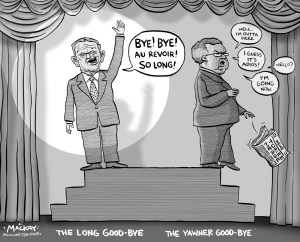 """Editorial Cartoon by Graeme MacKay, The Hamilton Spectator Ð December 10, 2003 Tory stalwart Joe Clark partyless The new Conservative Party of Canada lost three MPs yesterday, hours after a proud announcement that it had officially registered for business and begun operations. Former Tory leader Joe Clark and fellow MPs Andre Bachand of Quebec and John Herron of New Brunswick said they couldn't bring themselves to participate in the new organization, formed through a merger with the Canadian Alliance. """"This is not my party,"""" Clark said as he arrived for what he called his last Tory caucus meeting. """"This is something entirely new. I will not be part of this new party."""" Herron, like Clark, said he had notified Speaker Peter Milliken that he would serve out his current term but would keep calling himself a Progressive Conservative -- the old party name that was ditched in the merger. """"I sought a mandate to be elected as a Progressive Conservative,"""" Herron said. """"I plan on fulfilling my mandate."""" In effect, Clark and Herron will be treated as independents under Commons rules, with reduced opportunity to ask questions, participate in debates and serve on committees. Bachand, who has been courted by the federal Liberals, said he hasn't decided whether to remain in politics but, if he does, it won't be under the banner of the new Conservative party. (Source: Hamilton Spectator) Canada, long good-bye, Jean Chretien, Joe Clark, Progressive , Conservative, Reform, merger, leadership"""