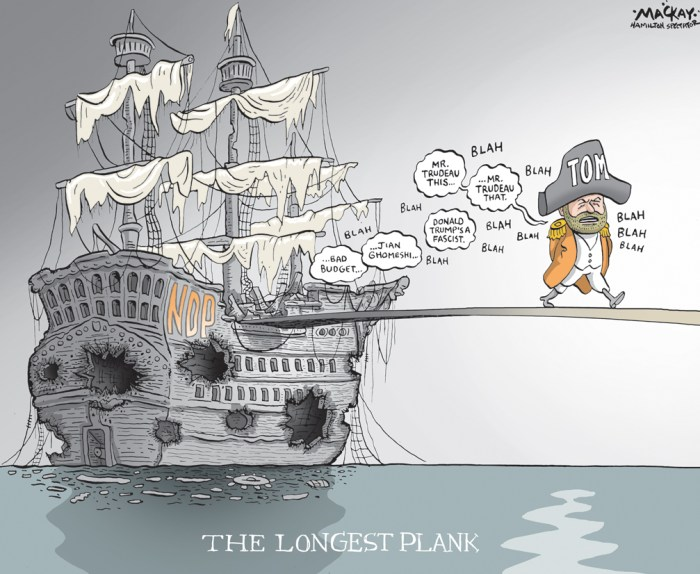"Editorial Cartoon by Graeme MacKay, The Hamilton Spectator Ð Saturday April 2, 2016 Mulcair campaigning ahead of convention Tom Mulcair is no stranger to political campaigns and there is one thing that is clear ahead of the NDP convention next week: he is actively working to keep his job in wake of the party's devastating election results. The level of blame placed on Mulcair's shoulders and whether he will be turfed by his own party, will be tested as rank-and-file members congregate in Edmonton and decide if he should stay or go. NDP President Rebecca Blaikie has suggested 70 per cent is likely the threshold of support needed for Mulcair to stay on, though the party constitution only stipulates a leadership race must be held within one year if asked for by a convention vote of at least 50 per cent plus one. It is a critical moment for New Democrats, who are still very much reeling from the pain of crushing results that reduced the caucus to 44 seats and third place in the Commons. Progressives gathered Friday in Ottawa for the Progress Summit Ñ an annual event sponsored by the institute that is the brainchild of former NDP leader Ed Broadbent. Mulcair, who has spent months meeting party supporters to hear post-election feedback, said some key lessons have emerged in his discussions. ""For me, as a party leader, that's been fantastic,"" Mulcair said Friday. ""It is rare for a party leader to be able to sit down with a candidate from a single riding and a small core team. You learn so much about the strength and depth of our team on the organizational, communications, policy side."" The NDP now needs to bring more people into the fold, he said. ""I want to make sure we throw the doors and the windows of the party wide open ... let in a lot of fresh air and a lot of sunlight, let in a lot more people,"" he said. ""We have to take a much more open-door approach from now on."" On the sidelines of the summit, some party members are not convinced Mulcair is the appro"