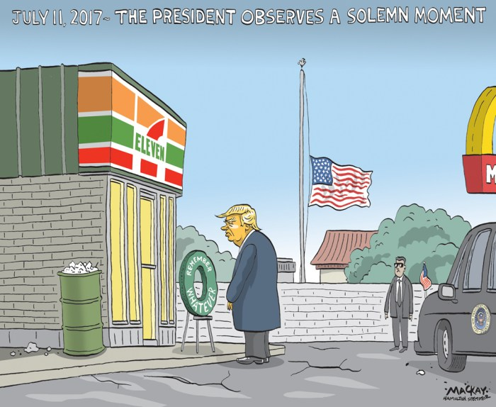 "Editorial Cartoon by Graeme MacKay, The Hamilton Spectator - Wednesday April 20, 2016 Trump commends first responders to '7-Eleven' attacks Donald Trump made an awkward slip of the tongue at a rally in Buffalo, N.Y.,Êon Monday evening, referringÊto the Sept. 11, 2001, attacksÊas ""7-Eleven.""Ê ""I was down there, and I watched our police and our firemen down on 7-Eleven, down at the World Trade Center [in New York City], right after it came down, and I saw the greatest people I have ever seen in action,"" said the businessman, a candidate for the Republican nomination for president. The 2001 attacks on Manhattan and the Pentagon are commonly referred to asÊ9/11.ÊThe convenience store chain 7-Eleven isÊknown for its Slurpee frozen drinks.Ê Trump was apparently oblivious to the fact he'dÊconflated the two. Ê He was speaking to thousands of supporters at a rally held ahead of the New York primaries on Tuesday. The video was shared widely onÊsocial media, including as a Vine with nearly fourÊmillion loops. (Source: CBC News)Êhttp://www.cbc.ca/news/trending/trump-seven-eleven-video-1.3542293 9-11, September 11, gaffe, Donald Trump, speech, 7-11, 7-Eleven, terrorism"