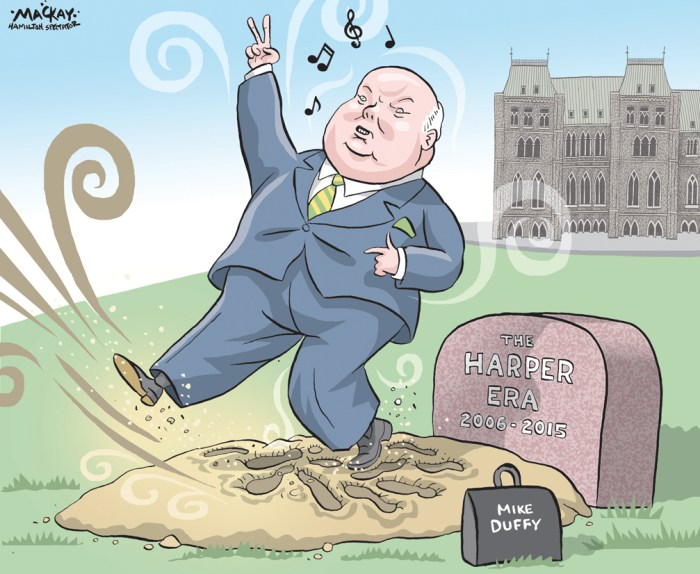 "Editorial Cartoon by Graeme MacKay, The Hamilton Spectator Ð Friday April 22, 2016 Judge clears Mike Duffy of all charges A judge in an Ottawa court has cleared Senator Mike Duffy of all 31 criminal charges and delivered a scathing indictment of the political operations of the office of former prime minister Stephen Harper. He called the actions of the Prime Minister's Office under Harper ""mind-boggling and shocking.Ó Justice Charles Vaillancourt said Harper's former chief of staff Nigel Wright and other PMO staff executed operations with a precision that would make any military commander proud, all with the objective of containing political damage. Duffy was another ""piece on the chess board,"" and the unwilling partner in a scheme to cover $90,000 in expenses, even though they were likely legitimate, Vaillancourt said. ""Could Hollywood match their creativity?"" he asked. Vaillancourt called the senator a ""credible witness"" and said the Crown failed to prove the case on any of the 31 charges of fraud, bribery and breach of trust. While some of the actions might be seen as ""unorthodox,"" they were not criminal, he ruled. Duffy's lawyer Donald Bayne said the ""vindication"" should cause those who rushed to judgment like a ""political herd"" to give serious thought about their actions. ""Political figures, public figures are also entitled to due process,"" he said. ""Senator Duffy has been subjected in the last two-and-a-half, three years to more public humiliation than probably any other Canadian in history,"" he said. Vaillancourt said Duffy's travel claims had no financial or ""sinister"" motive and no ""criminal intent,"" the judge said. He also concluded that payments made for third-party services funnelled through his friend Gerald Donohue to pay for editorial services, makeup and fitness training were ""appropriate."" And he said there was no evidence of kickbacks or altered invoices. (Source: CBC News) http://www.cbc.ca/news/politics/mike-duffy-trial-rulings-fraud-"
