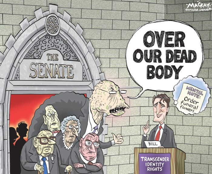 "Editorial Cartoon by Graeme MacKay, The Hamilton Spectator Ð Thursday May 19, 2016 Some Conservatives now ready to support bill on transgender rights When C-279, the private member's bill that would have added gender identity to the Canadian Human Rights Act and the Criminal Code, came before the House of Commons for a vote in 2013, Conservative MPs Rona Ambrose and Tony Clement voted against it. This time around, Ambrose and Clement say they will be voting in favour when the Liberal government's bill to add gender identity to the human rights act and the code, C-16, comes before the House for a vote. Neither vote is likely to be crucial to the bill's success: with Liberal and NDP support, the bill should pass the House of Commons comfortably. But they could mark a change of opinion that might still be significant. Clement pointed to the influence he takes from his three children. ""I have three children, ages 24, 22 and 18. They span the political spectrum but in their generation this is a foregone issue,"" he said. ""They don't even understand why this would be debated.Ó He also says it makes sense that transgender Canadians should be included among those who have their rights acknowledged. While Liberals, New Democrats and 18 Conservatives supported the bill tabled by NDP Randall Garrison, Conservatives accounted for all of the 137 votes opposed. Clement says that in 2013, the advice to Conservatives from the Justice Department was that the bill was unnecessary because gender identity was already covered by the law. Ambrose and Clement follow Conservative MP David Tilson who told CBC News on Monday that his view had changed since voting against C-279 in 2013. That change of opinion is not unanimous. Conservative Senator Don Plett, who opposed C-279 and moved amendments that excluded areas such as bathrooms from the bill's provisions, told reporters on Tuesday that his position has not changed. ""You know my feeling on transgender rights,"" he said. ""They hav"