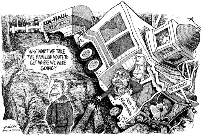 Editorial Cartoon by Graeme MacKay, The Hamilton Spectator Ð Tuesday September 21, 1999 Ted McMeekin, Flamborough, Flamboro, Mayor, Hamilton, amalgamation, Bob Wade, John Addison, Toni Skarica, Dundas, town Hall, U-Haul, Flambasterdas