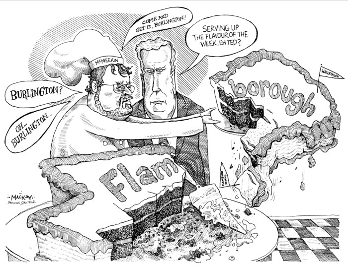 Editorial Cartoon by Graeme MacKay, The Hamilton Spectator Ð Tuesday January 18, 2000 Cutting the Flamborough Cake Ted McMeekin, Flamborough, Flamboro, Mayor, Hamilton, amalgamation, Bob Morow, cake, map