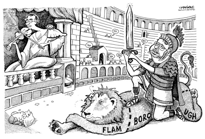 Editorial Cartoon by Graeme MacKay, The Hamilton Spectator Ð Wednesday March 22, 2000 Severing Flamborough and Emperor Tony Clement fiddles Ted McMeekin, Flamborough, Flamboro, Mayor, Hamilton, amalgamation, Tony Clement, Rome, Emperor, gladiator, lion, Toni Skarica