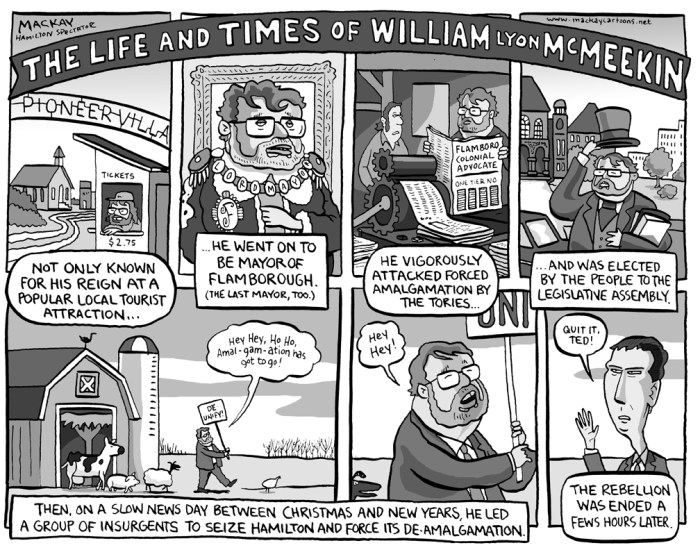 "Editorial Cartoon by Graeme MacKay, The Hamilton Spectator Ð Friday January 4, 2002 The Life and Times of William Lyon McMeekin Not only known for his reign at a popular local tourist attraction, he went on to become Mayor of Flamborough (The last Mayor, too). He vigorously attacked forced amalgamation by the Tories and was elected by the peole to the Legislative Assembly. Then, on a slow news day between Christmas and New Years, he led a group of insurgents to seize Hamilton and force its de-amalgamation.  ""Quit it Ted"", demanded the Premier, Dalton McGuinty. The rebellion was ended a few hours later. Ted McMeekin, Flamborough, Flamboro, MPP, Hamilton, amalgamation, Liberal, AncasterÑDundasÑFlamboroughÑAldershot, Dalton McGuinty, maverick, rebel, William Lyon MacKenzie"