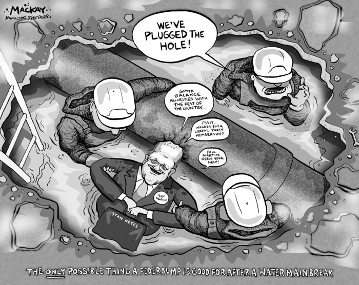 "Editorial Cartoon by Graeme MacKay, The Hamilton Spectator Ð Wednesday February 26, 2003 Another Hole to Fill MP Stan Keyes, whose Hamilton West riding has been plagued by the recent water main breaks, said Ottawa has been spending money on municipal infrastructure and will continue to.But he said it has to be balanced with the other priorities of the country. ""There is a point at which the federal government will not go into deficit,"" he said. ""We have to get into priority spending.Ó While Keyes decried finger-pointing between various levels of government, he said Ontario could be doing more priority spending of its own. ""Maybe we don't need tax cuts this year. Maybe we need to invest more in municipal infrastructure,"" Keyes said. ""I don't think there is a resident on Locke Street who would disagree.Ó At least a few Hamilton West residents are a little fed up with all the political finger-pointing. Crews were pumping water from brothers Tom and Tim McDermott's basement yesterday as the family made a list of all the items damaged on Sunday -- golf clubs, memorabilia, bicycles and appliances. (Source: Hamilton Spectator)Ê Hamilton, Stan Keyes, infrastructure, spending, crumbling, Locke Street, flooding, funding"